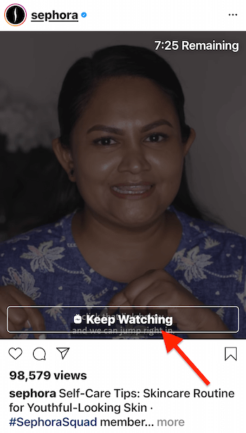 instagram igtv video preview by @sephora with the 'keep watching' video end button highlighted