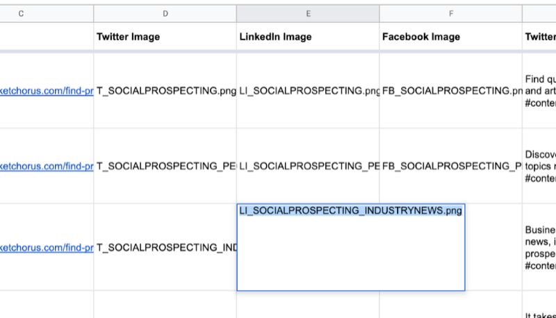 example of google sheet with partial data filled out for twitter, linkedin, facebook image names as just created in canva