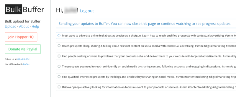 screenshot of bulk buffer with post updates confirmed as being sent to buffer