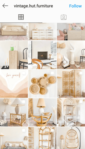 example screenshot of the @vintage.hut.furniture instagram feed showing their yellow-tint for antique styling of image posts in whites, tans, and neutral colors