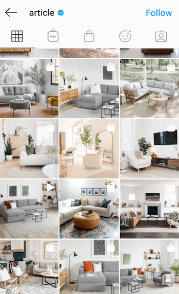 example screenshot of the @article instagram feed showing their modern furniture featured with lots of natural light and a filter styling which incorporates blue