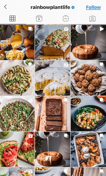 example screenshot of the @rainbowplantlife instagram feed showing their vegan foods featured in deep, rich tones