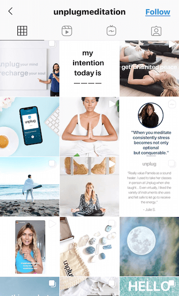 example screenshot of the @unplugmeditation instagram feed showing quotes, products, and people in various poses of medication in light blues, tans, and whites to promote relaxation and peace