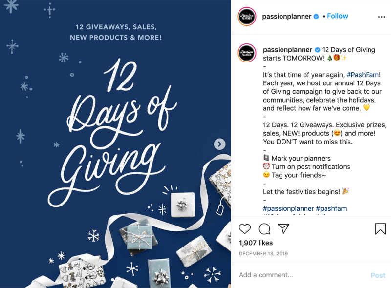 example of an instagram giveaway contest for the 12 days of giving from @passionplanner announcing that the giveaway begins the next day