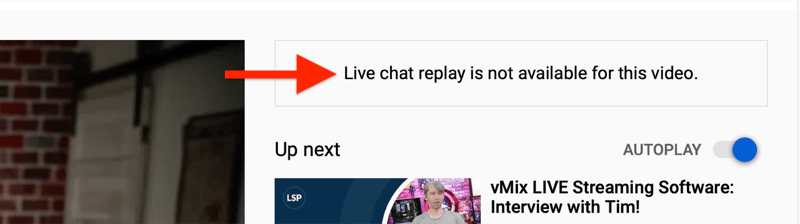 note for trimmed youtube video that live chat replay is not available
