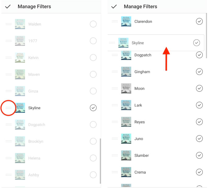 manage instagram filters menu options showing double-horizontal selection bars next to filters allowing them to be reordered, and showing the skyline filter being dragged to the top of the filter selection list