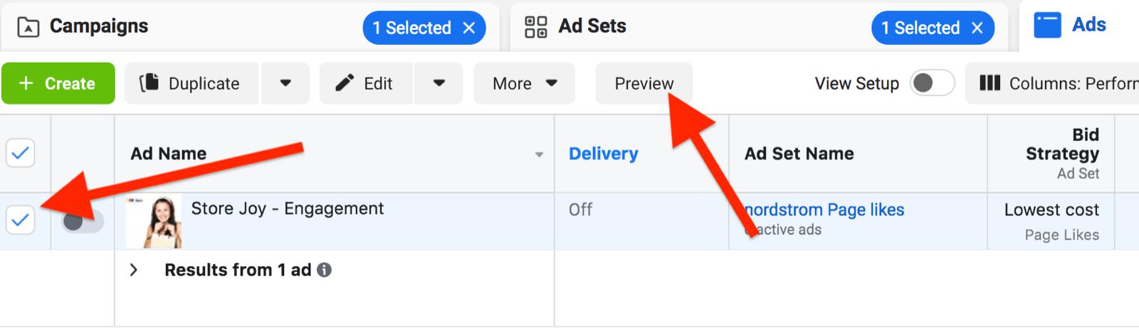 facebook ads manager广告集示例,带有预览所选广告的选项