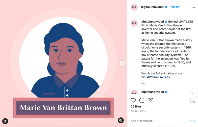example of an snippet mp4 post shared to instagram highlighting marie van brittan brown as pt. 4 in the series #wearelimitless
