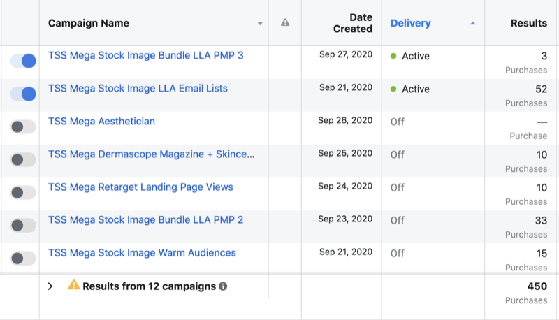 example of facebook ad data campaign sets showing 2 sets active including a version 3 of a particular ad set while 5 are inactive including a version 2 of the noted ad set