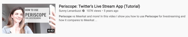 youtube video example by @sunnylenarduzzi of 'periscope: twitter's live stream app (tutorial)' showing 107 thousand views over the last 5 years