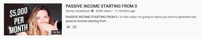 youtube video example by @sunnylenarduzzi of 'passive income starting from 0' spotlighting the ability to generate passive income with the thumbnail noting