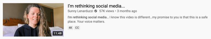 youtube video example by @sunnylenarduzzi of 'i'm rethinking social media…'