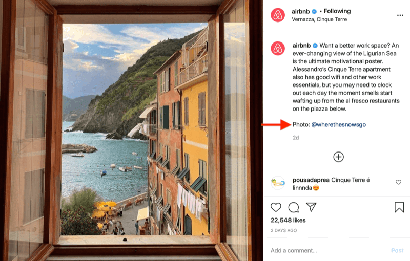 instagram image repost by @airbnb with image credit to @wherethesnowsgo, as requested in the image above