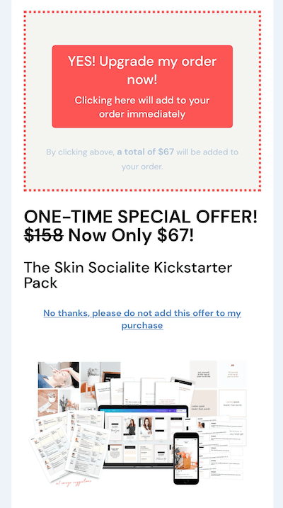 example of an instagram sale upsell offer of $67 for their kickstarter pack