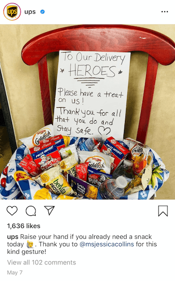 example post from @ups resharing user-generated content of treats left for the delivery drivers during the covid-19 pandemic