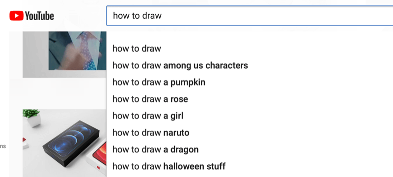 example of keyword research in youtube for the phrase 'how to draw'