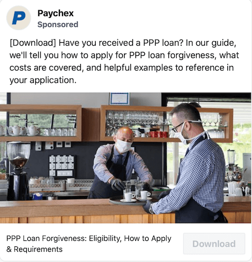 example of sponsored post by paychex for ppp loan lead generation