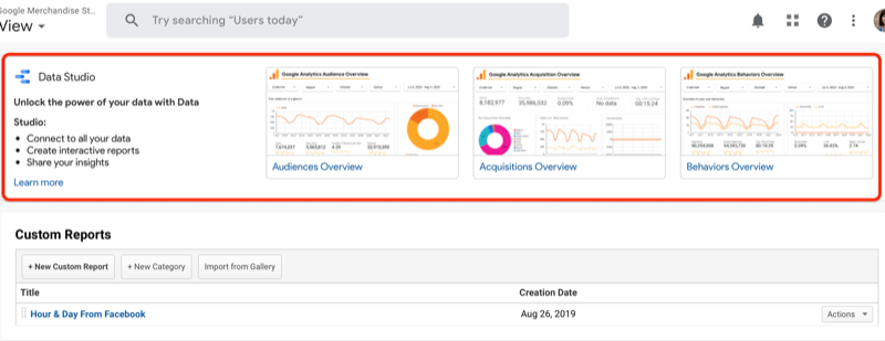 google analytics custom reports dashboard with highlighted section of data studio dashboard templates and a note about unlocking the power of your data with google data studio and the option to learn more