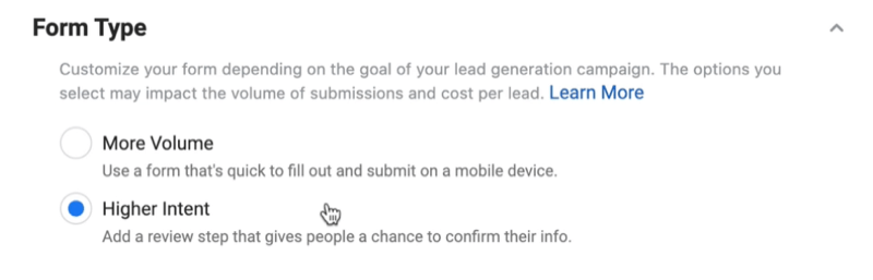 facebook lead ads create new lead form option to select form type with higher intent selected