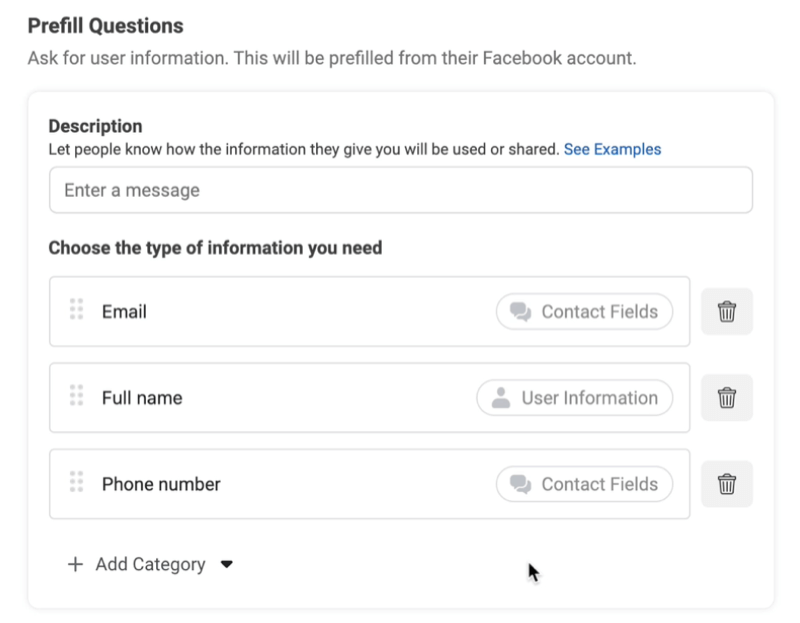 facebook lead ads create new lead form option to add prefill questions with examples used of email, full name, and phone number
