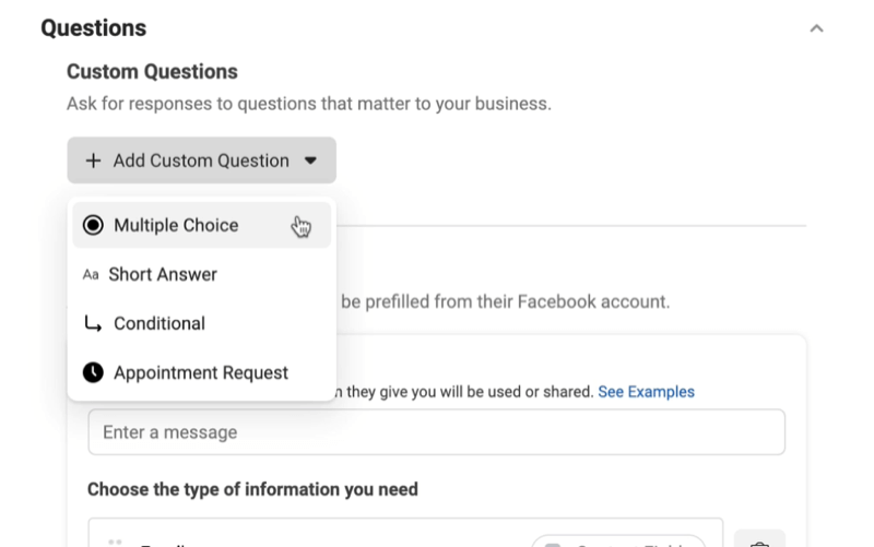 facebook lead ads create new lead form option to add custom questions menu with options for multiple choice, short answer, conditional, or appointment request