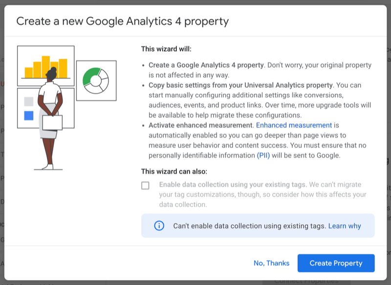 screenshot of the google analytics admin menu > create property > upgrade to ga4 > get started wizard start screen that describes what the wizard will do, and the option to enable data collection using your existing tags