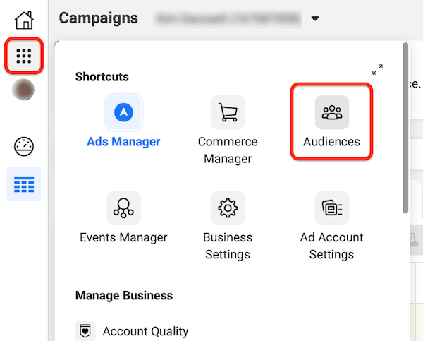 facebook ads manager left-hand navigation nine-dots shortcut menu with the audiences option highlighted