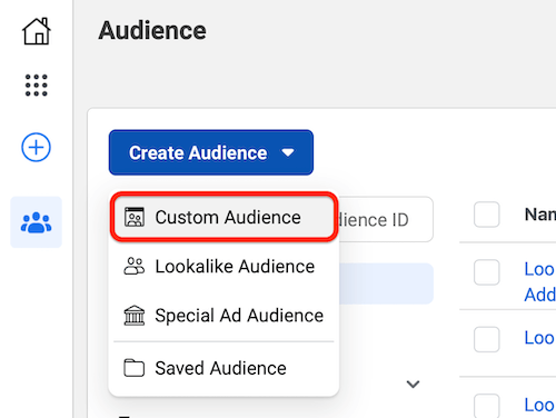 facebook ads manager create an audience with the custom audiences menu option highlighted