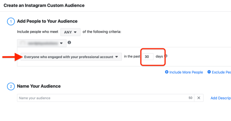 menu to create an instagram custom audience with the option to add people who engaged with your professional account in the past 30 days