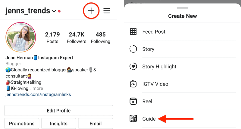 example instagram profile with the + icon highlighted and the create new pop-up menu displayed with the guide option highlighted