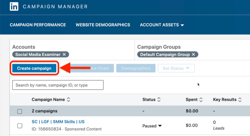 linkedin campaign manager ads dashboard example with the create campaign button highlighted