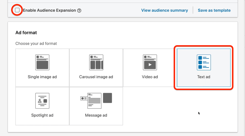 example linkedin ad campaign target audience option highlighted to uncheck the enable audience expansion and the ad format menu with the text ad option highlighted