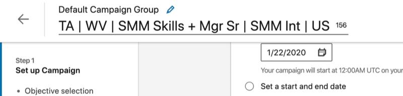 example linkedin ad campaign name set to ta | wv | smm skills + mgr sr | smm int | us