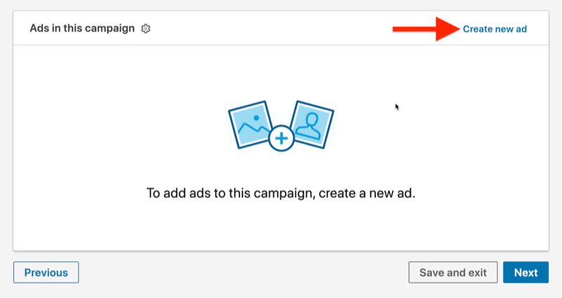example linkedin ad campaign ad level with the create new ad option highlighted