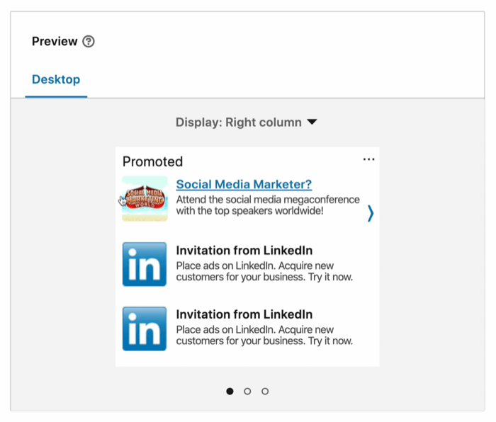 example linkedin ad campaign created ad preview