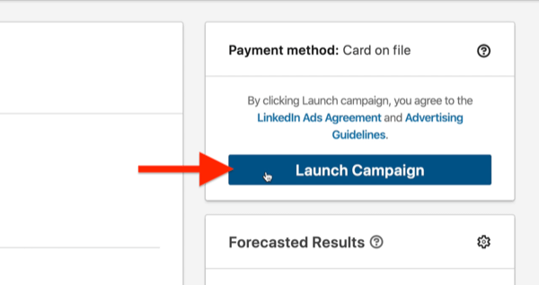 example linkedin ad campaign highlighted launch campaign button