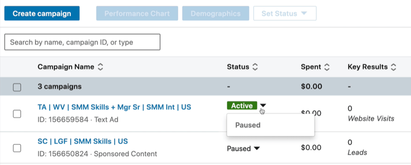 example linkedin campaign manager dashboard with the created campaign shown as active with the dropdown clicked to show the option to pause the campaign