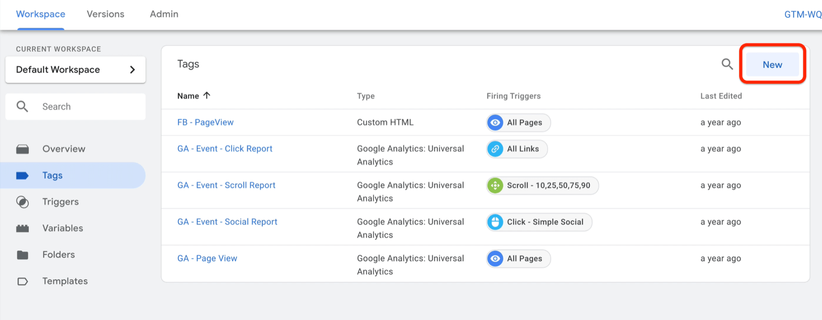 example google tag manager dashboard workspace with tags selected and several example tags shown with new button highlighted on the top right