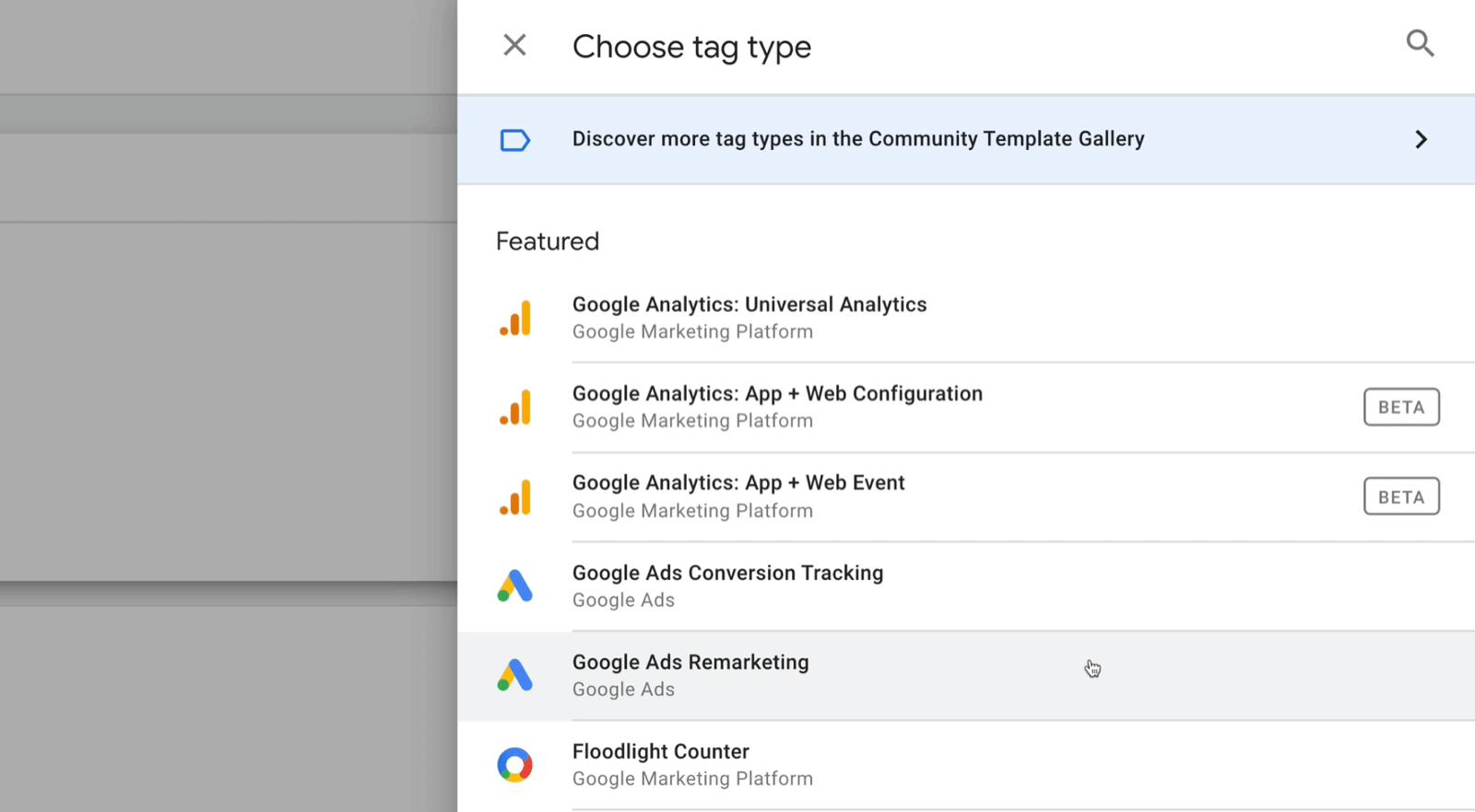 new google tag manager tag with choose tag type menu options with several featured, including google analytics: universal analytics, google analytics: app + web configuration, google ads remarketing, among others