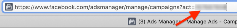 facebook ads manager account id number example url with the portion of the url after act= highlighted (and blurred out)