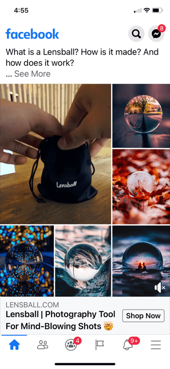 example facebook ad collage for lensball, showing the product in a small black drawstring bag along with 5 example shots of the product in use in pictures