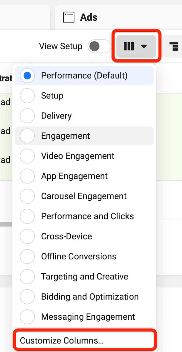 """facebook广告管理器菜单,其中已选择""""报告列""""按钮,并且突出显示了用于自定义列的选项"""