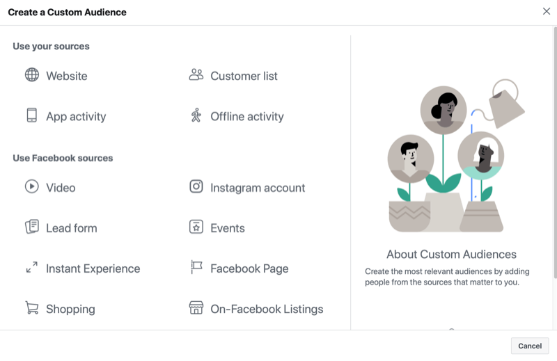 instagram custom audience menu noting audience source options of website, customer list, app activity, and offline activity; and facebook sources of video, instagram account, lead form, event, instant experience, facebook page, shopping, and on-facebook listings