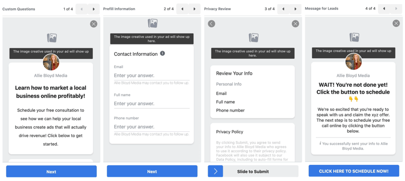 facebook lead ads create new lead form option to preview your lead form settings and options prior to publication