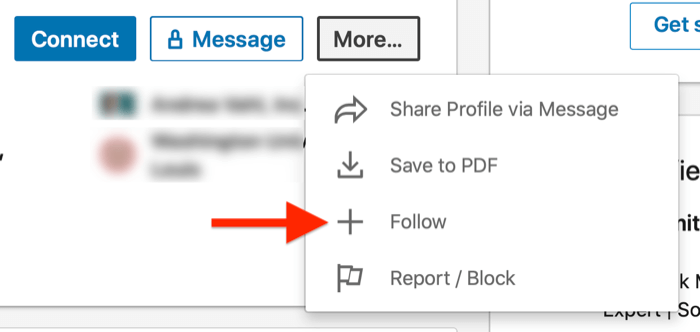 linkedin profile more... menu with the 'follow' option highlighted