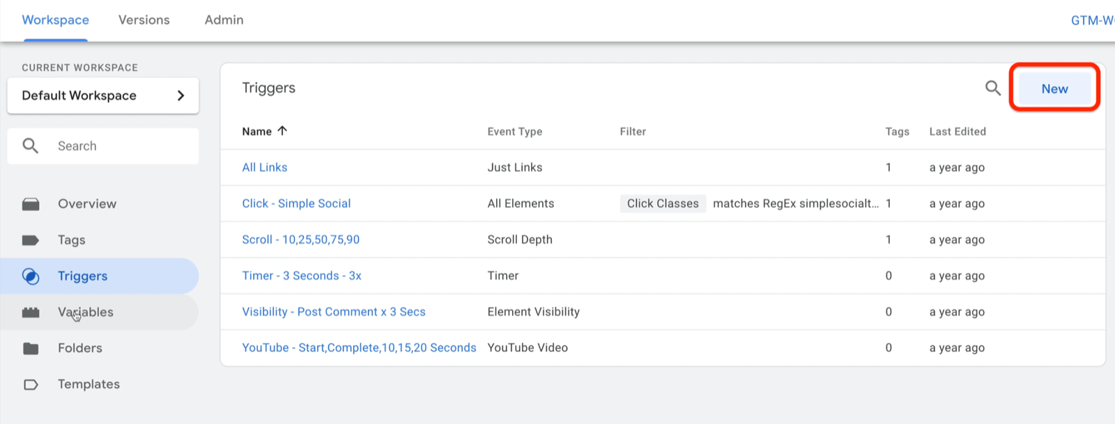 example google tag manager dashboard workspace with triggers selected and several example triggers shown with new button highlighted on the top right