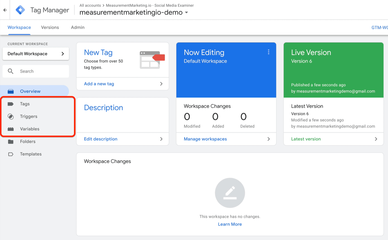 example google tag manager dashboard with menu options of tags, triggers, and variables highlighted