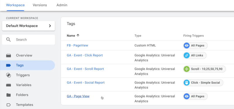 example google tag manager dashboard workspace with tags selected and several example tags shown with type and firing trigger noted for each