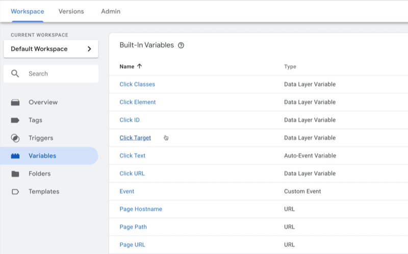 example google tag manager dashboard workspace with variables selected and several example variables shown with type noted for each
