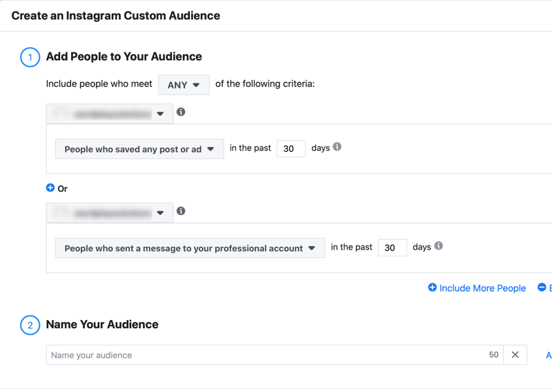 menu to create an instagram custom audience with the option to add people to your audience who saved any post or ad in the past 30 days or who engaged with your professional account in the past 30 days